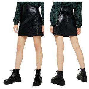 Topshop Croc Embossed Faux Leather Miniskirt Sz 2